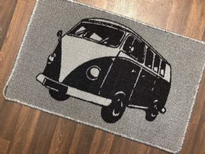 NO SLIP DOORMAT 50X80CM GEL BACKING TOP QUALITY CAMPER DESIGN NEW COLOUR SILVER